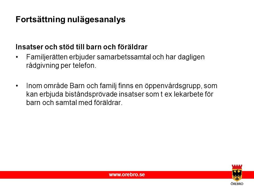 www.orebro.se Fortsättning nulägesanalys Insatser och stöd till barn och föräldrar Familjerätten erbjuder samarbetssamtal och har dagligen rådgivning per telefon.