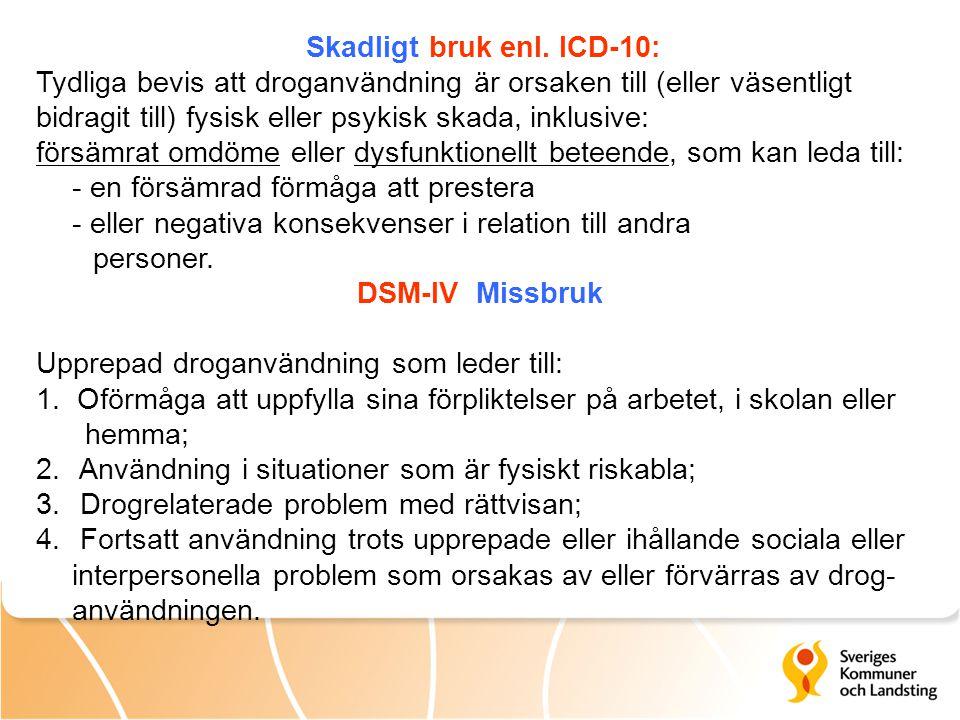 Skadligt bruk enl. ICD-10: Tydliga bevis att droganvändning är orsaken till (eller väsentligt bidragit till) fysisk eller psykisk skada, inklusive: fö