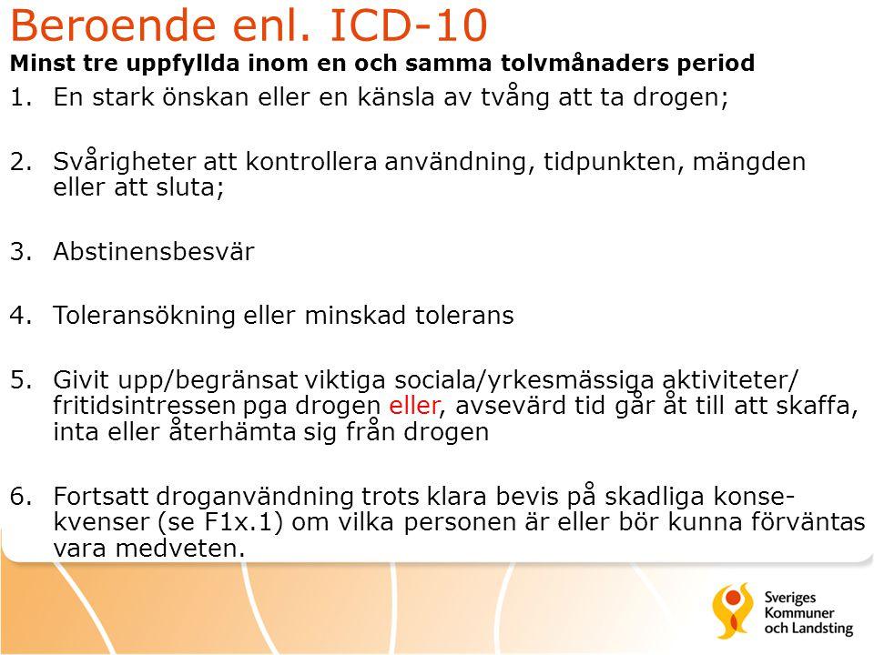 Beroende enl. ICD-10 Minst tre uppfyllda inom en och samma tolvmånaders period 1.En stark önskan eller en känsla av tvång att ta drogen; 2.Svårigheter