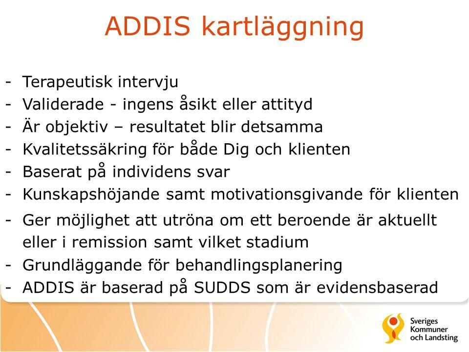 ADDIS kartläggning -Terapeutisk intervju -Validerade - ingens åsikt eller attityd -Är objektiv – resultatet blir detsamma -Kvalitetssäkring för både D