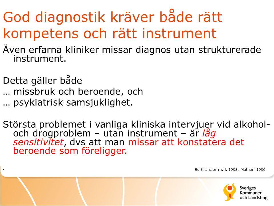 God diagnostik kräver både rätt kompetens och rätt instrument Även erfarna kliniker missar diagnos utan strukturerade instrument. Detta gäller både …