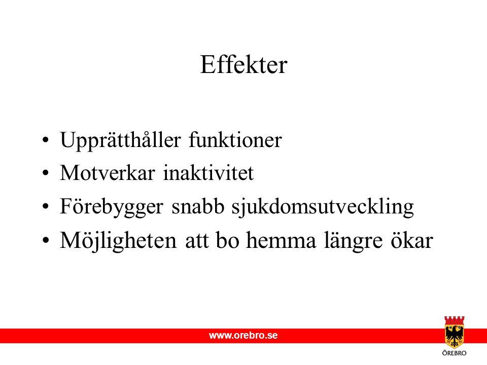 www.orebro.se Upprätthåller funktioner Motverkar inaktivitet Förebygger snabb sjukdomsutveckling Möjligheten att bo hemma längre ökar Effekter