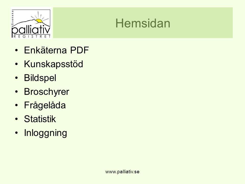 Hemsidan Enkäterna PDF Kunskapsstöd Bildspel Broschyrer Frågelåda Statistik Inloggning www.palliativ.se