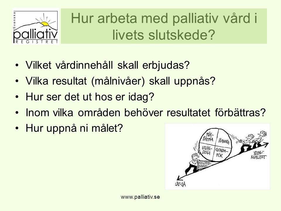 Hur arbeta med palliativ vård i livets slutskede.Vilket vårdinnehåll skall erbjudas.