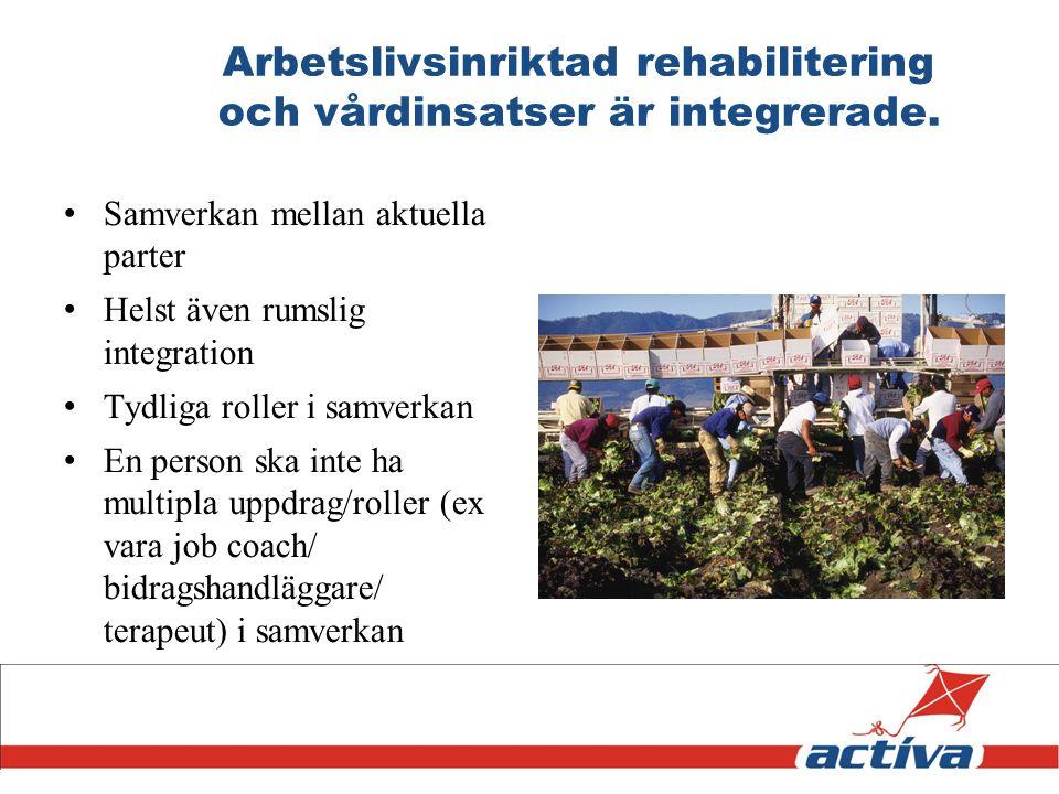 Arbetslivsinriktad rehabilitering och vårdinsatser är integrerade. Samverkan mellan aktuella parter Helst även rumslig integration Tydliga roller i sa
