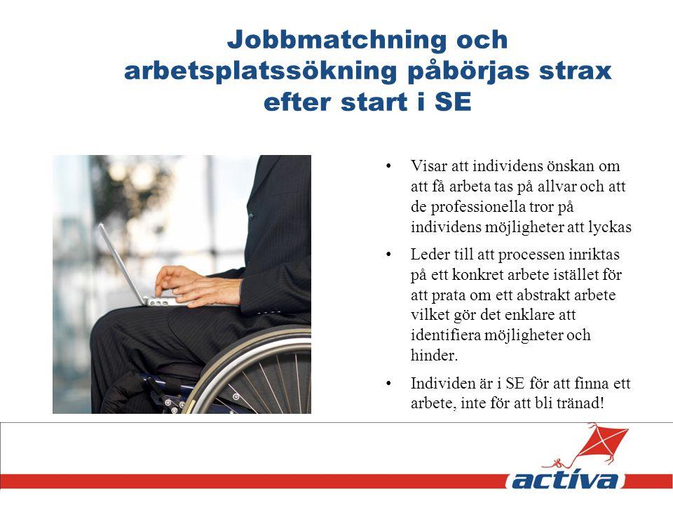 Jobbmatchning och arbetsplatssökning påbörjas strax efter start i SE Visar att individens önskan om att få arbeta tas på allvar och att de professione