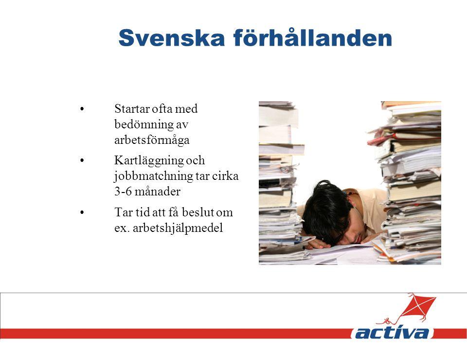 Svenska förhållanden Startar ofta med bedömning av arbetsförmåga Kartläggning och jobbmatchning tar cirka 3-6 månader Tar tid att få beslut om ex. arb