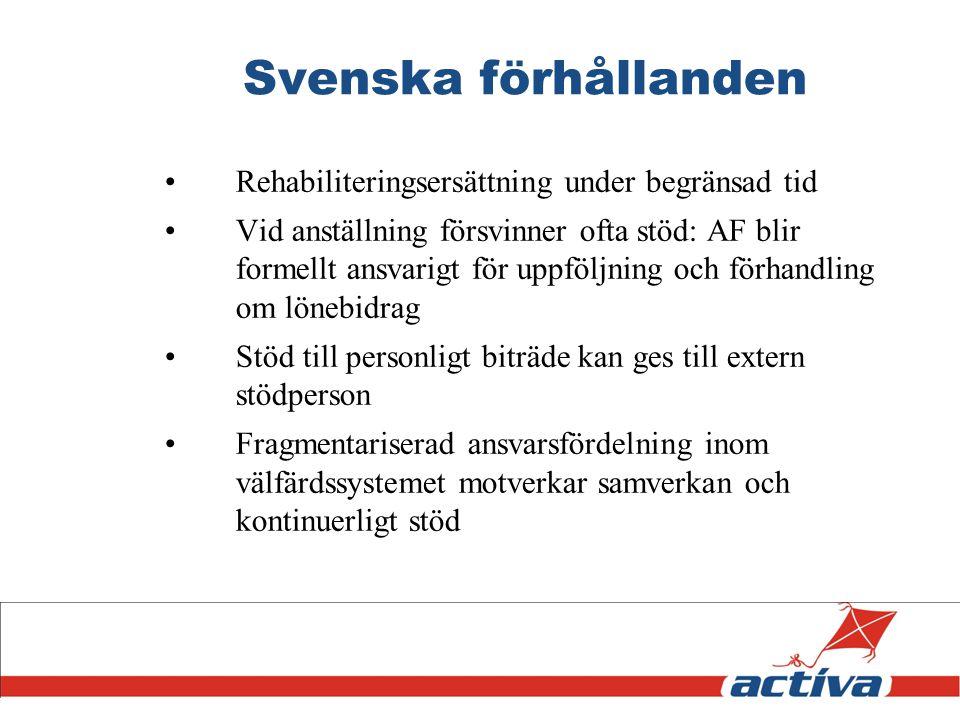 Svenska förhållanden Rehabiliteringsersättning under begränsad tid Vid anställning försvinner ofta stöd: AF blir formellt ansvarigt för uppföljning oc