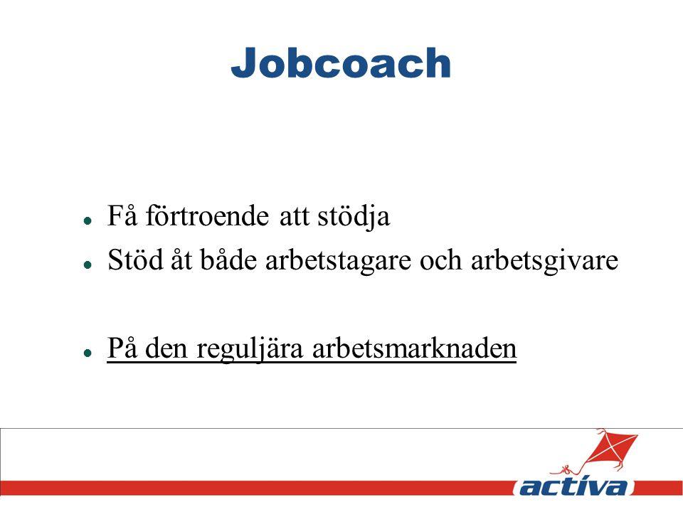 Jobcoach Få förtroende att stödja Stöd åt både arbetstagare och arbetsgivare På den reguljära arbetsmarknaden