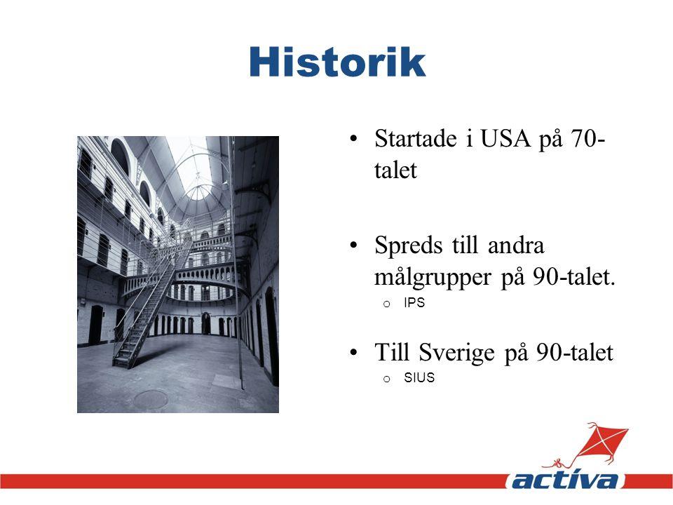 Historik Startade i USA på 70- talet Spreds till andra målgrupper på 90-talet. o IPS Till Sverige på 90-talet o SIUS