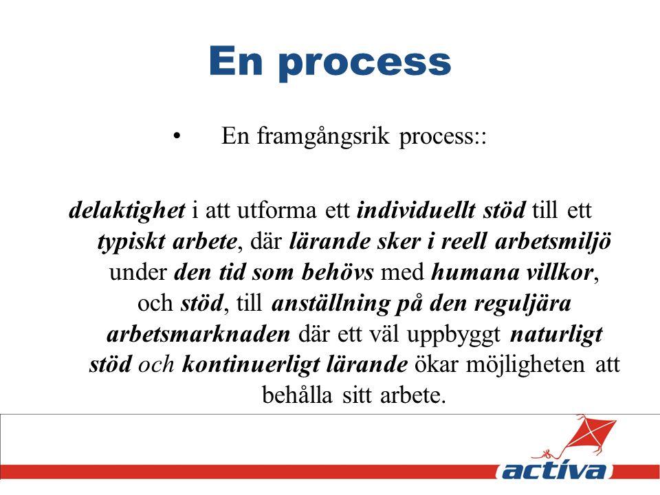 En process En framgångsrik process:: delaktighet i att utforma ett individuellt stöd till ett typiskt arbete, där lärande sker i reell arbetsmiljö und
