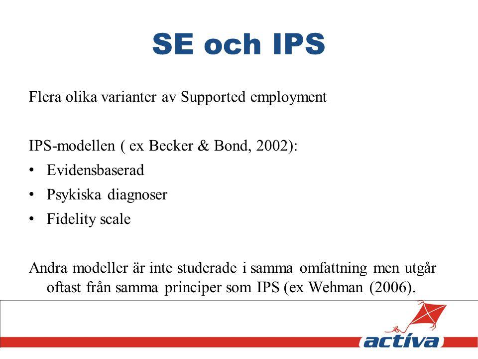 SE och IPS Flera olika varianter av Supported employment IPS-modellen ( ex Becker & Bond, 2002): Evidensbaserad Psykiska diagnoser Fidelity scale Andr