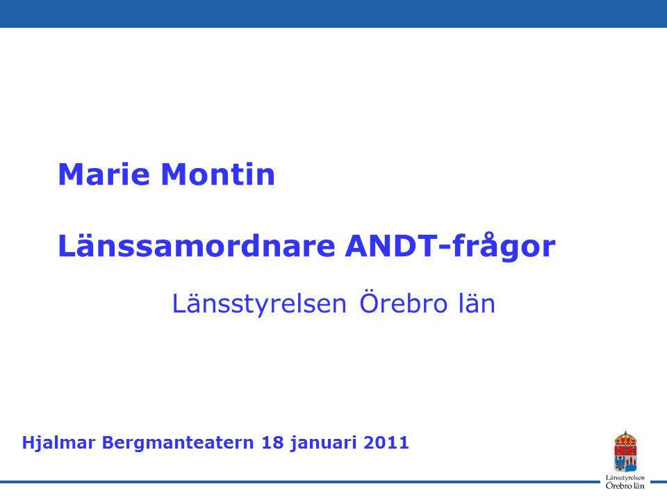Marie Montin Länssamordnare ANDT-frågor Länsstyrelsen Örebro län Hjalmar Bergmanteatern 18 januari 2011