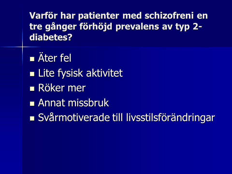 Varför har patienter med schizofreni en tre gånger förhöjd prevalens av typ 2- diabetes.