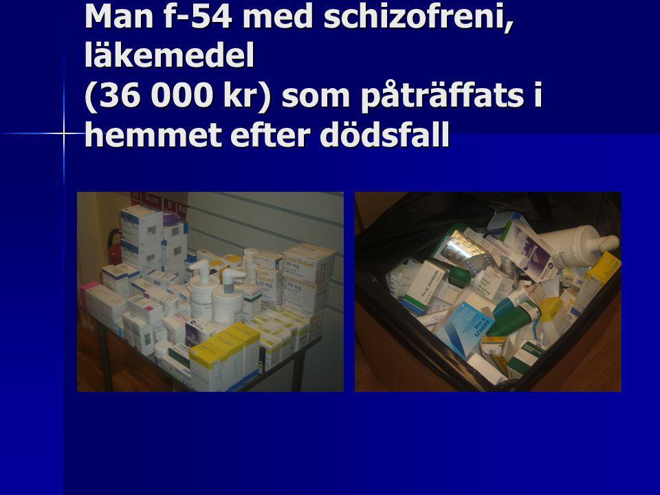 Man f-54 med schizofreni, läkemedel (36 000 kr) som påträffats i hemmet efter dödsfall