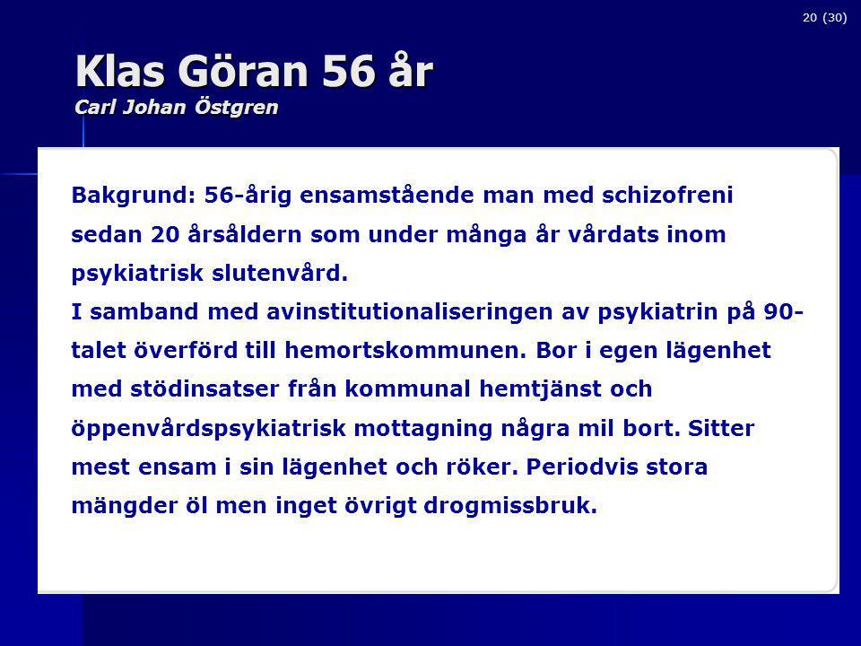 Klas Göran 56 år Carl Johan Östgren 20 (30) Bakgrund: 56-årig ensamstående man med schizofreni sedan 20 årsåldern som under många år vårdats inom psykiatrisk slutenvård.