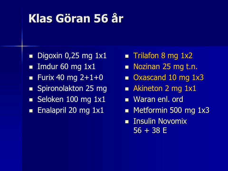 Klas Göran 56 år Digoxin 0,25 mg 1x1 Imdur 60 mg 1x1 Furix 40 mg 2+1+0 Spironolakton 25 mg Seloken 100 mg 1x1 Enalapril 20 mg 1x1 Trilafon 8 mg 1x2 Trilafon 8 mg 1x2 Nozinan 25 mg t.n.