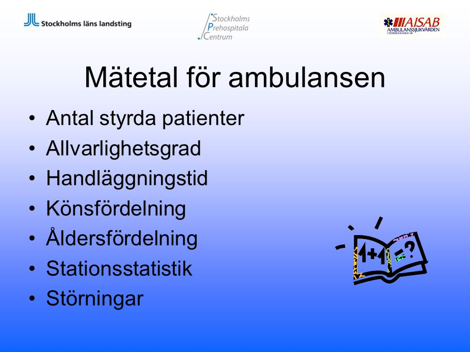 Mätetal för ambulansen Antal styrda patienter Allvarlighetsgrad Handläggningstid Könsfördelning Åldersfördelning Stationsstatistik Störningar