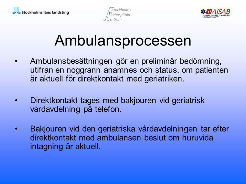 Ambulansprocessen Ambulansbesättningen gör en preliminär bedömning, utifrån en noggrann anamnes och status, om patienten är aktuell för direktkontakt