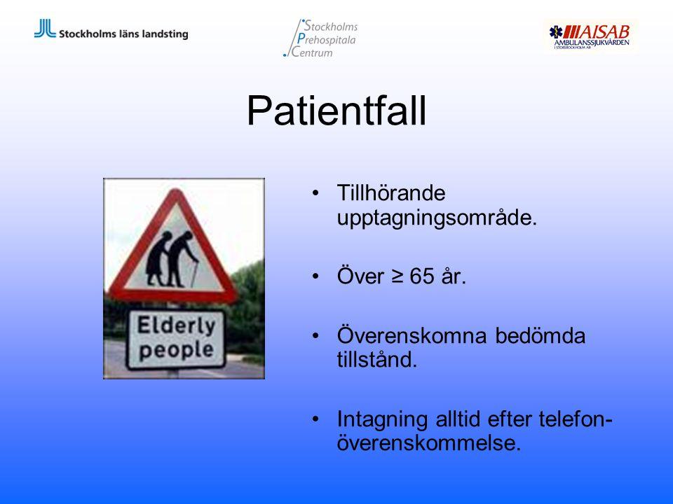Patientfall Tillhörande upptagningsområde. Över ≥ 65 år. Överenskomna bedömda tillstånd. Intagning alltid efter telefon- överenskommelse.