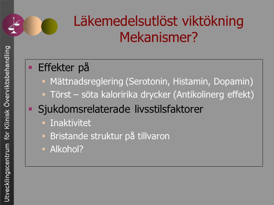 Utvecklingscentrum för Klinisk Överviktsbehandling Läkemedelsutlöst viktökning Mekanismer?  Effekter på  Mättnadsreglering (Serotonin, Histamin, Dop