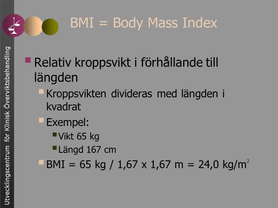  Relativ kroppsvikt i förhållande till längden  Kroppsvikten divideras med längden i kvadrat  Exempel:  Vikt 65 kg  Längd 167 cm  BMI = 65 kg / 1,67 x 1,67 m = 24,0 kg/m 2 BMI = Body Mass Index