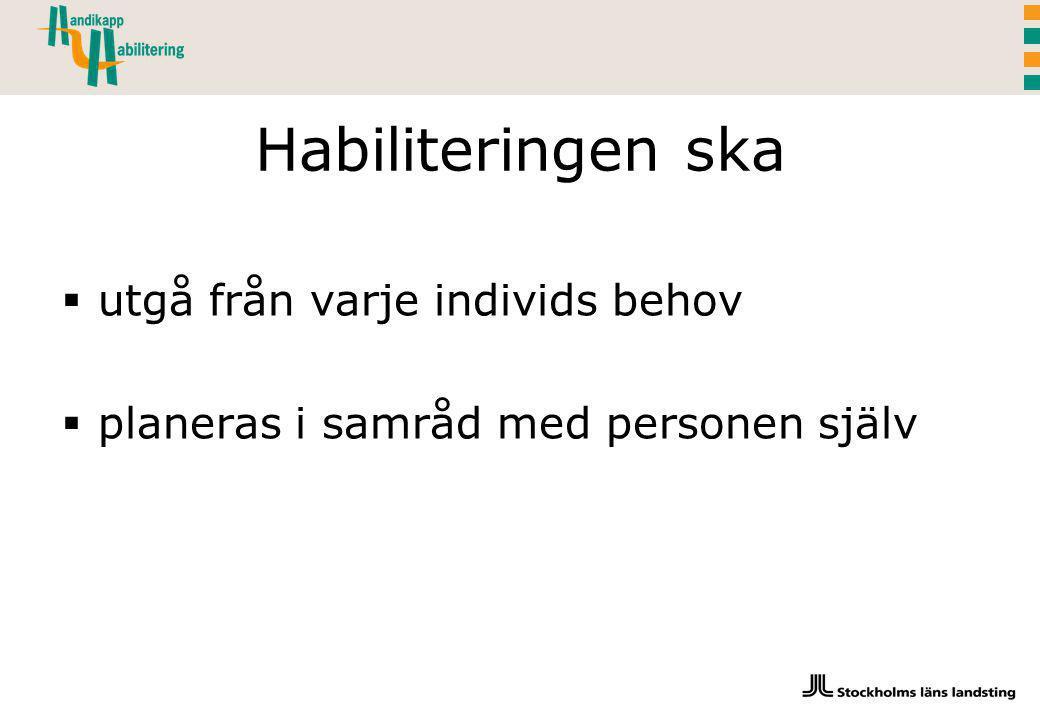 Habiliteringen ska  utgå från varje individs behov  planeras i samråd med personen själv