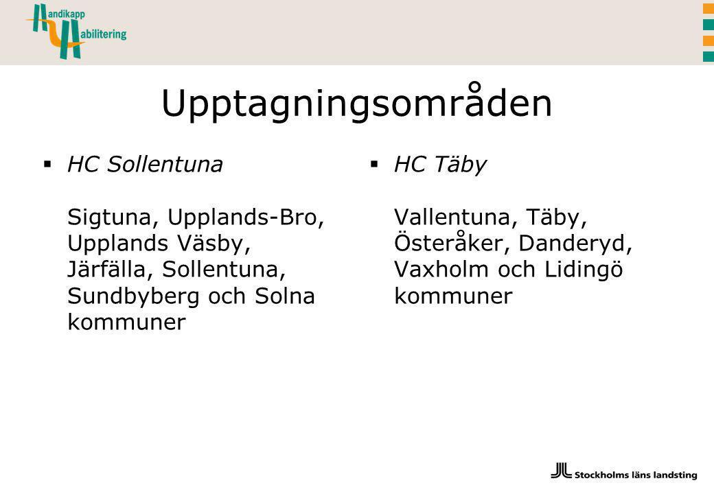 Upptagningsområden  HC Sollentuna Sigtuna, Upplands-Bro, Upplands Väsby, Järfälla, Sollentuna, Sundbyberg och Solna kommuner  HC Täby Vallentuna, Täby, Österåker, Danderyd, Vaxholm och Lidingö kommuner