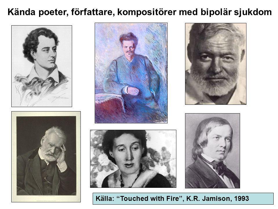 """Kända poeter, författare, kompositörer med bipolär sjukdom Källa: """"Touched with Fire"""", K.R. Jamison, 1993"""