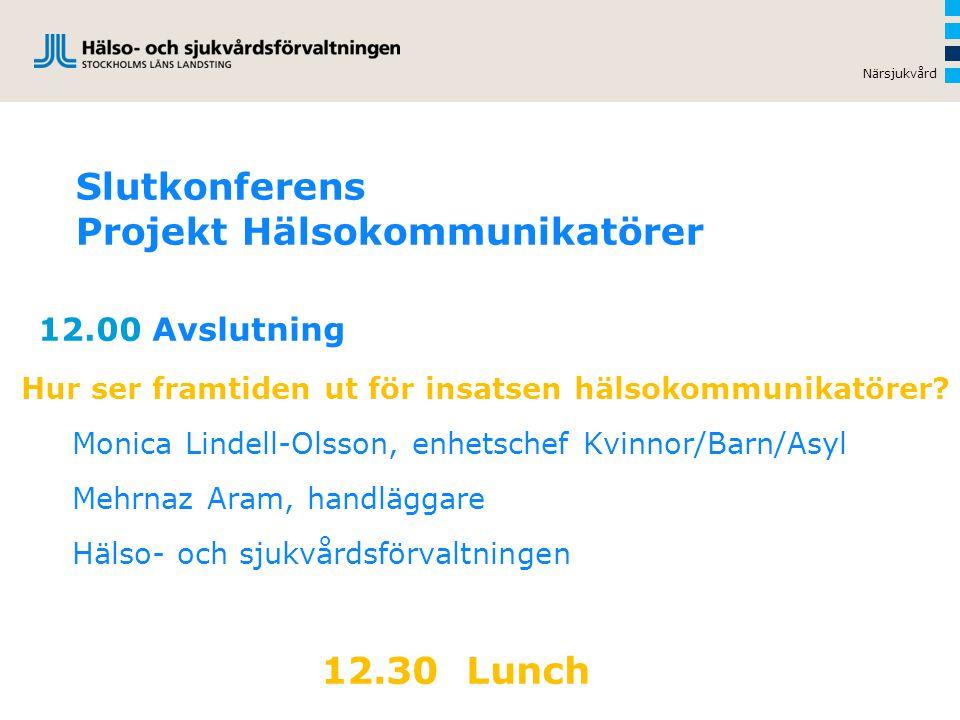 Slutkonferens Projekt Hälsokommunikatörer 12.00 Avslutning Hur ser framtiden ut för insatsen hälsokommunikatörer.