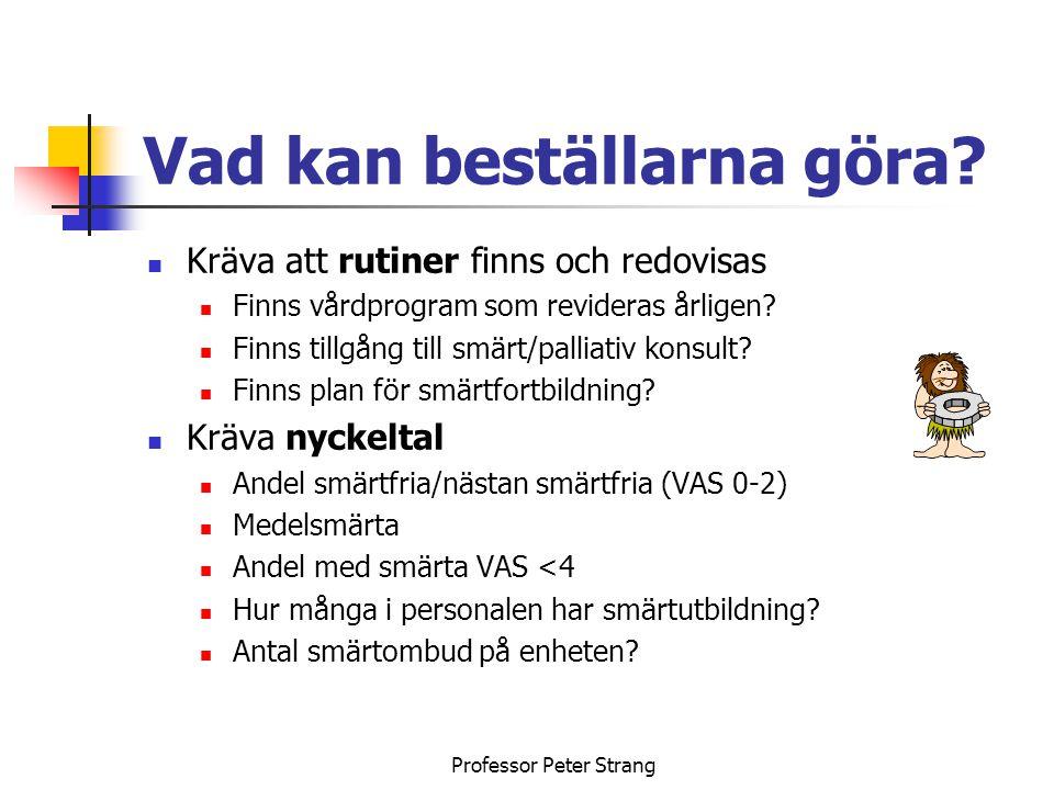 Professor Peter Strang Smärt/palliativt problem inom SLL Slutenvårdsplatser finns ofta på geriatriska kliniker med åldersgräns på 65 år Vem skall ta hand om yngre döende cancerpatienter, dvs under 65 år?.