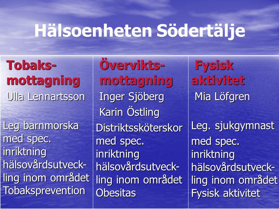 Hälsoenheten Södertälje Tobaks- mottagning Tobaks- mottagning Ulla Lennartsson Ulla Lennartsson Leg barnmorska med spec.
