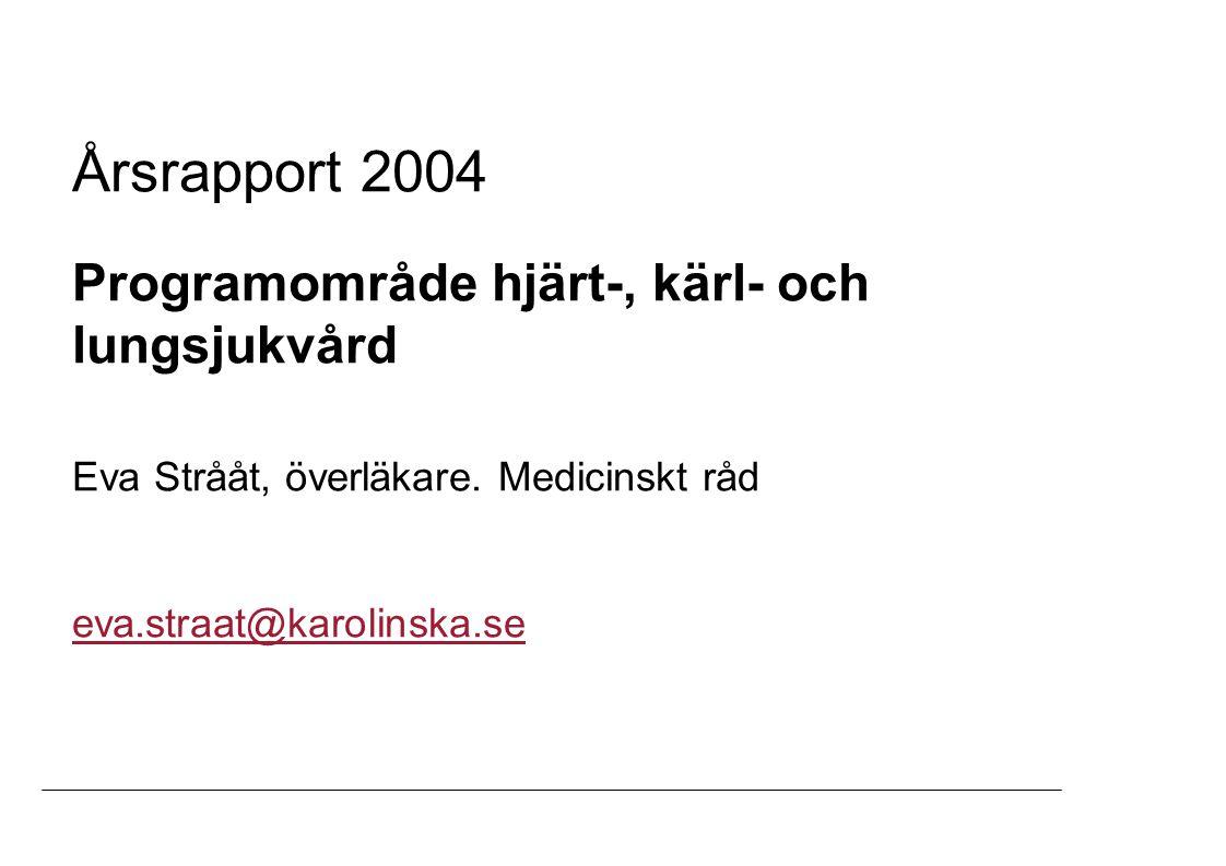 Årsrapport 2004 Programområde hjärt-, kärl- och lungsjukvård Eva Strååt, överläkare. Medicinskt råd eva.straat@karolinska.se