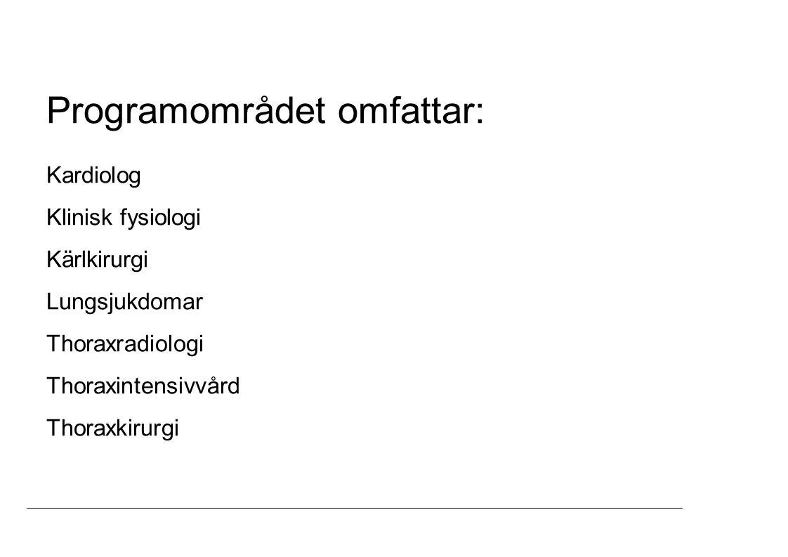 Programområdet omfattar: Kardiolog Klinisk fysiologi Kärlkirurgi Lungsjukdomar Thoraxradiologi Thoraxintensivvård Thoraxkirurgi