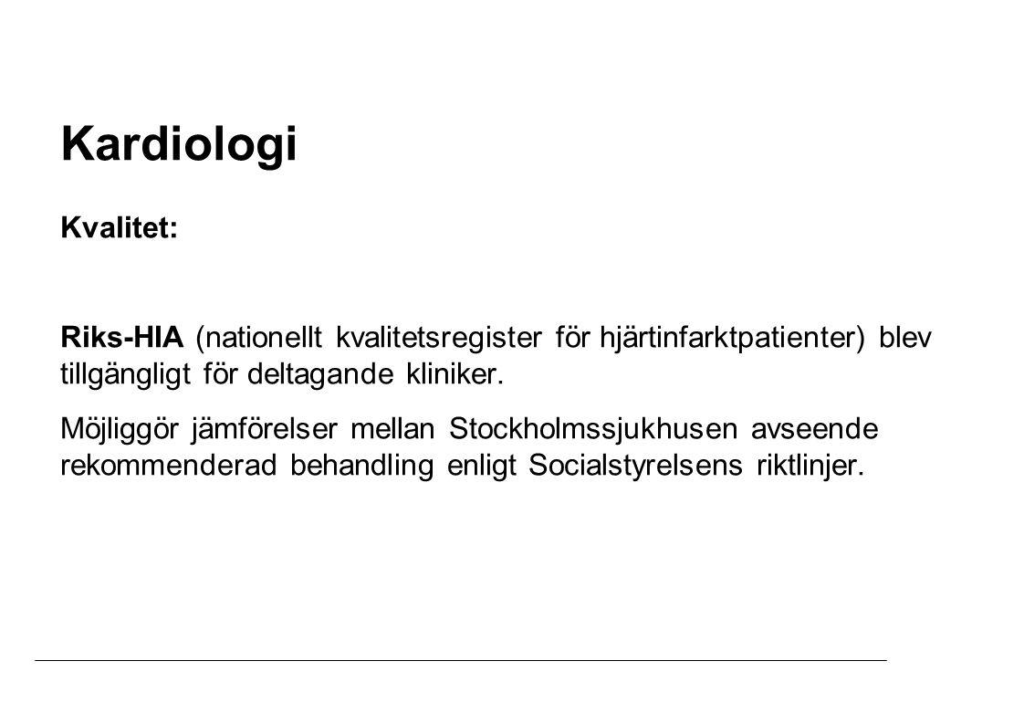 Samarbete med Enheten för kvalitetsutveckling inom avdelningen för Medicin och Omvårdnad för att studera kardiologisk sjukvårdskvalitet i Stockholm är inlett.