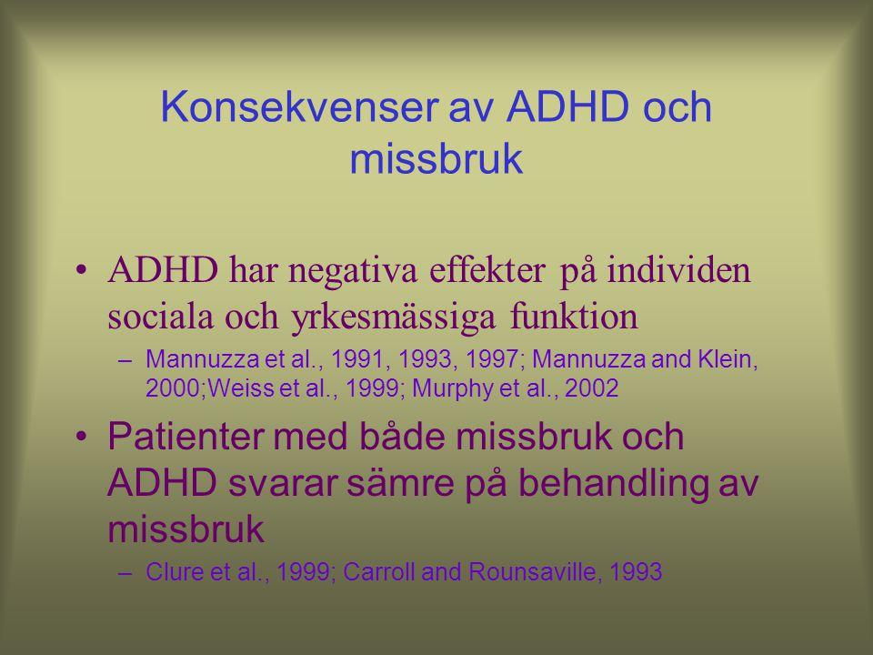 Sociala riskfaktorer för missbruksutveckling Låg socioekonomisk status Avbruten skolgång Co-morbid substance abuse disorders and ADHD Kollins, Curr Me