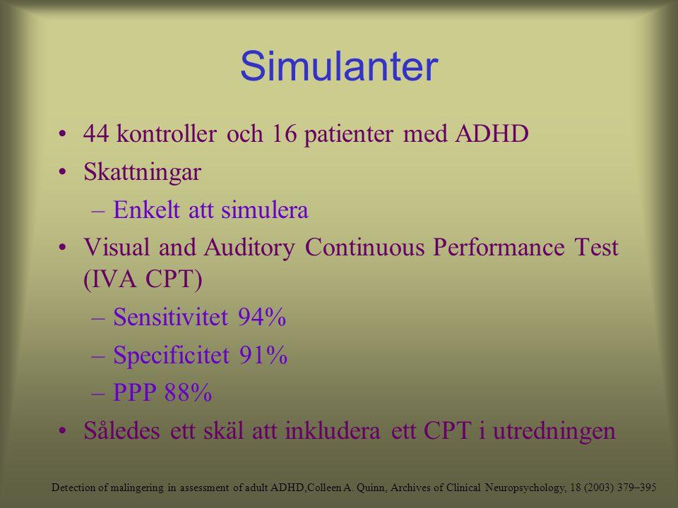 Simulanter 85 individer som sökt för utredning Samtliga med dåligt resultat i minnesscreening Subgrupper blev: ADHD, psykologiska problem men inte ADH