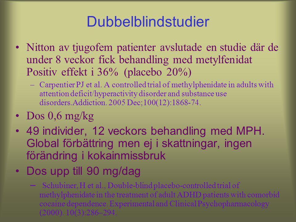 ADHD och kokain Viss nytta –Khantzian, 1983; Khantzian et al., 1984; Levin et al., 1998; Somoza et al., 2000; Schubiner et al., 2002) 40-80 mg MPH dag