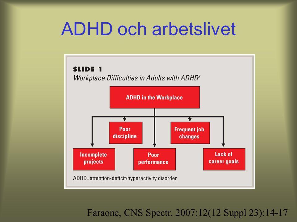 Prevalens Barn ca 2-5% ADHD, 10% uppmärksamhets- störning utan hyperaktivitet –ADHD hos barn och vuxna, Socialstyrelsen 2002 Vuxna 4-5% –Kessler et al