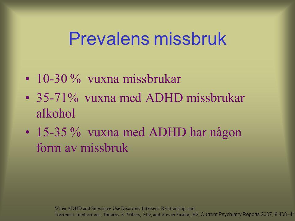 Prevalens missbruk 10-30 % vuxna missbrukar 35-71% vuxna med ADHD missbrukar alkohol 15-35 % vuxna med ADHD har någon form av missbruk When ADHD and Substance Use Disorders Intersect: Relationship and Treatment Implications, Timothy E.