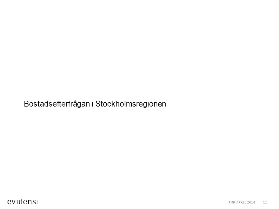 Bostadsefterfrågan i Stockholmsregionen TMR APRIL 201411