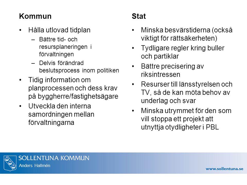 Anders Hallmén Kommun Hålla utlovad tidplan –Bättre tid- och resursplaneringen i förvaltningen –Delvis förändrad beslutsprocess inom politiken Tidig i