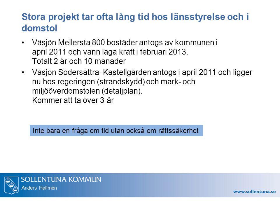 Anders Hallmén Stora projekt tar ofta lång tid hos länsstyrelse och i domstol Väsjön Mellersta 800 bostäder antogs av kommunen i april 2011 och vann l