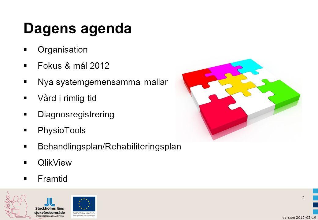 3 v ersion 2012-03-19 Dagens agenda  Organisation  Fokus & mål 2012  Nya systemgemensamma mallar  Vård i rimlig tid  Diagnosregistrering  Physio