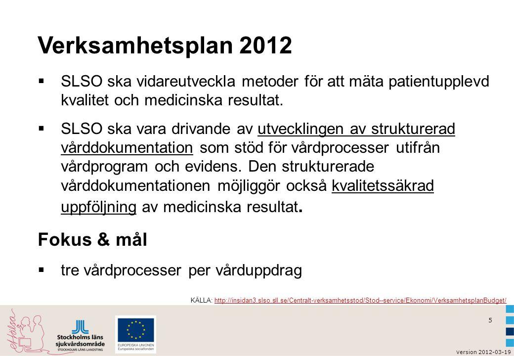 5 v ersion 2012-03-19 Verksamhetsplan 2012  SLSO ska vidareutveckla metoder för att mäta patientupplevd kvalitet och medicinska resultat.  SLSO ska