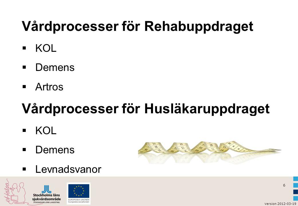 6 v ersion 2012-03-19 Vårdprocesser för Rehabuppdraget  KOL  Demens  Artros Vårdprocesser för Husläkaruppdraget  KOL  Demens  Levnadsvanor