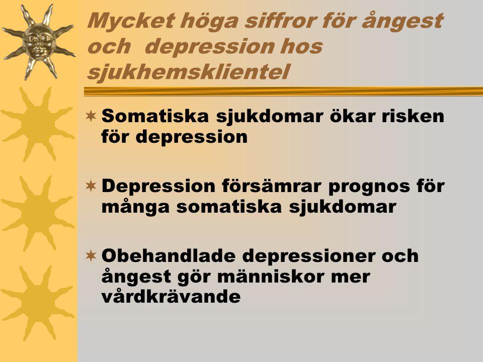Mycket höga siffror för ångest och depression hos sjukhemsklientel  Somatiska sjukdomar ökar risken för depression  Depression försämrar prognos för många somatiska sjukdomar  Obehandlade depressioner och ångest gör människor mer vårdkrävande