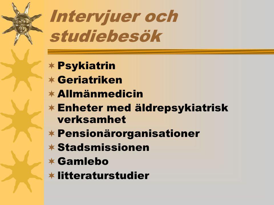 Intervjuer och studiebesök  Psykiatrin  Geriatriken  Allmänmedicin  Enheter med äldrepsykiatrisk verksamhet  Pensionärorganisationer  Stadsmissi