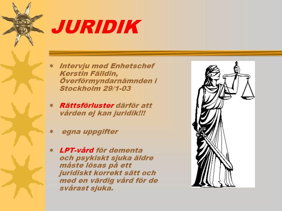 JURIDIK  Intervju med Enhetschef Kerstin Fälldin, Överförmyndarnämnden i Stockholm 29/1-03  Rättsförluster därför att vården ej kan juridik!!!  egn