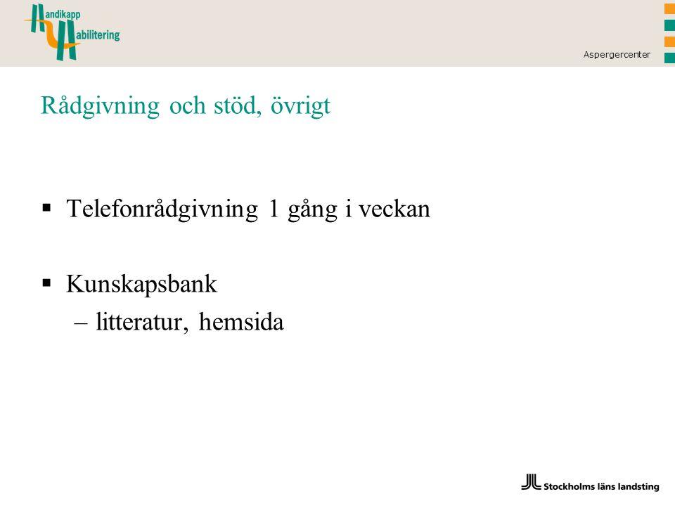 Aspergercenter Rådgivning och stöd, övrigt  Telefonrådgivning 1 gång i veckan  Kunskapsbank –litteratur, hemsida